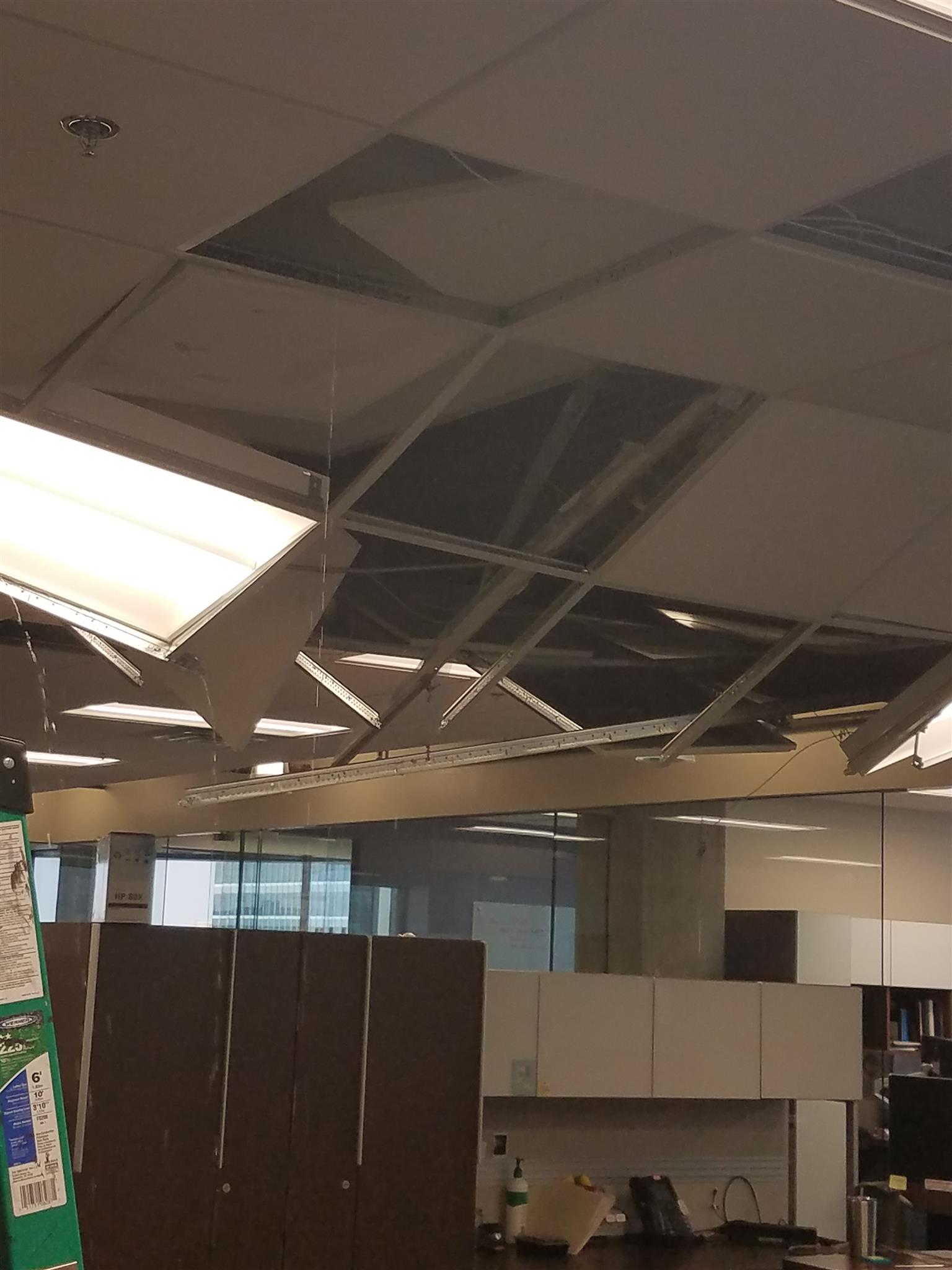 ceiling damaged by water