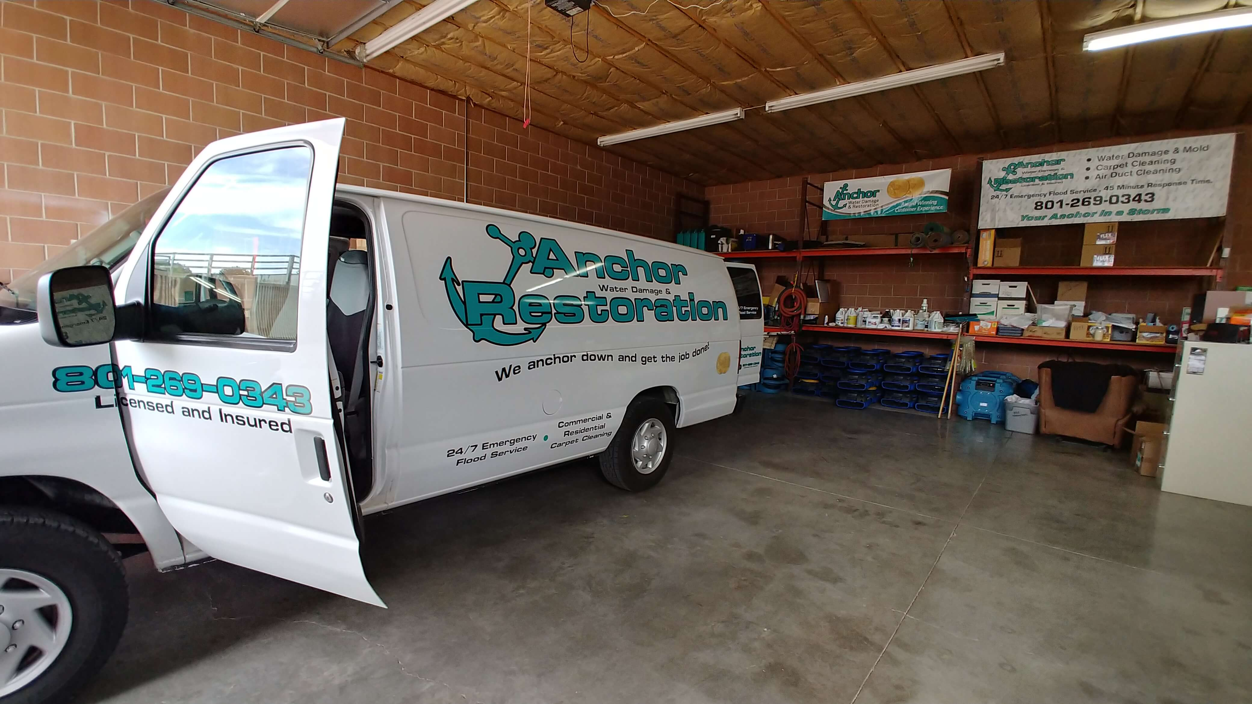 anchor van in the water restoration facility in draper